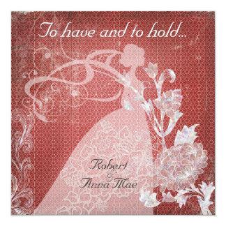 Zu habendes Rosen-Rot und Griff-Hochzeit einladen Quadratische 13,3 Cm Einladungskarte