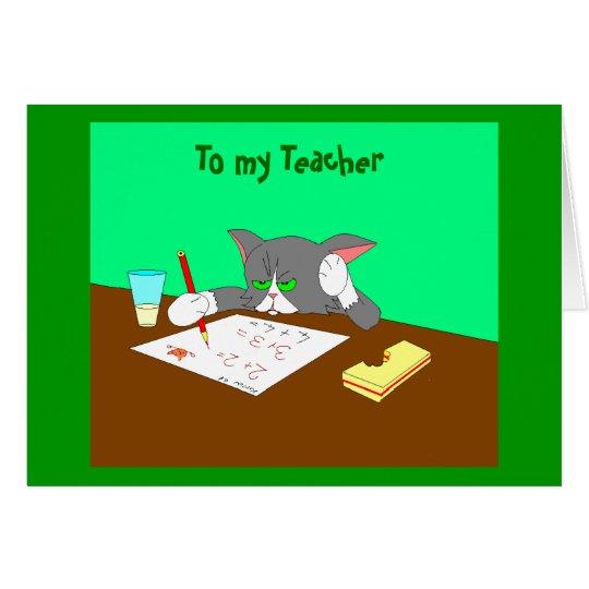 , Zu meinem Lehrer Mitteilungskarte