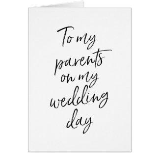 Zu meinen Eltern auf meinem Hochzeit | stilvollen Grußkarte