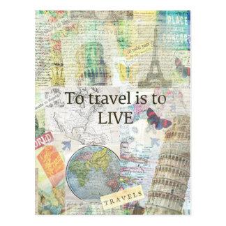 Zu reisen ls, zum zu leben Zitat Postkarte