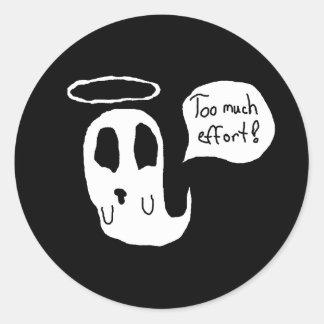 Zu viel Bemühung Ghosty Runder Aufkleber