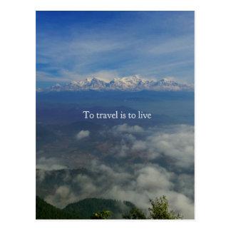 Zu zu reisen ist, zu leben REISE-ZITAT Postkarte
