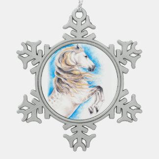 Züchtung des weißen Pferds Schneeflocken Zinn-Ornament