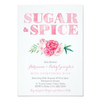 Zucker- u. Gewürzbabydusche, rosa 12,7 X 17,8 Cm Einladungskarte