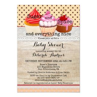 Zucker-und Gewürz-Kuchen-Babyparty-Einladung 12,7 X 17,8 Cm Einladungskarte