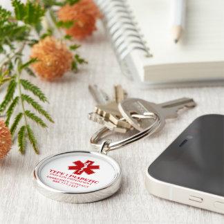 Zuckerkranke medizinische Informationen Silberfarbener Runder Schlüsselanhänger