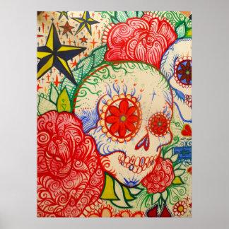 zuckern Sie Schädel-Blumentag der toten Poster