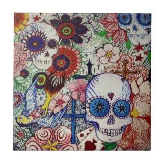 zuckern Sie Schädeltag der toten mexikanischen Keramikfliese
