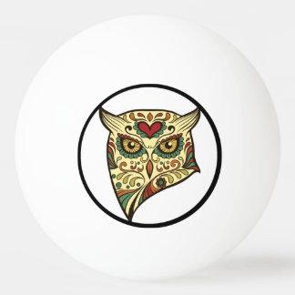 Zuckerschädel-Eule - Tätowierungs-Entwurf Tischtennis Ball