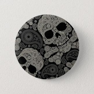 Zuckerschädel-Knochen-Muster 2 Zoll-runder Knopf Runder Button 5,7 Cm