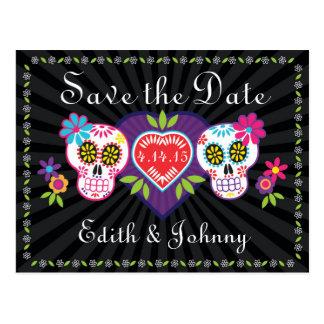 Zuckerschädel und -Blumen Save the Date Postkarte