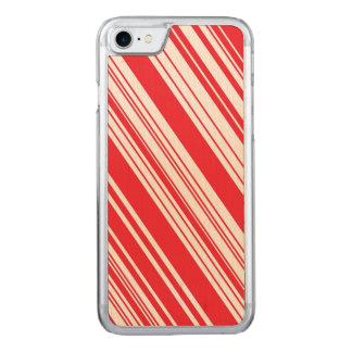 Zuckerstange-rote und weiße diagonale multi carved iPhone 8/7 hülle
