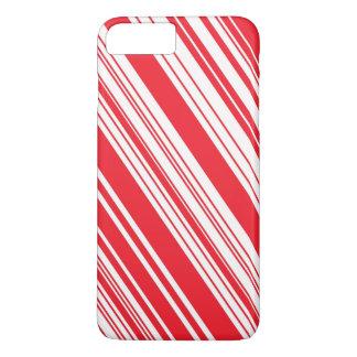Zuckerstange-rote und weiße diagonale multi iPhone 8 plus/7 plus hülle
