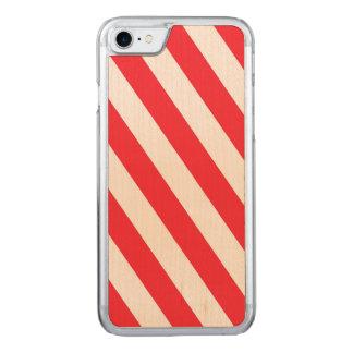 Zuckerstange-rote und weiße diagonale Streifen Carved iPhone 8/7 Hülle