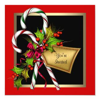 Zuckerstange-Stechpalmen-rotes WeihnachtsParty Karte