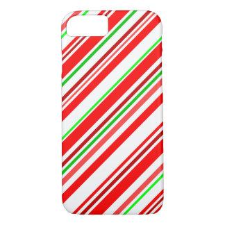 Zuckerstange Stripes Weihnachtsrotes weißes Grün iPhone 8/7 Hülle