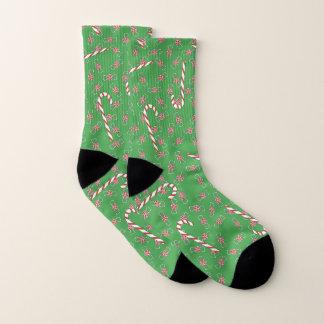 Zuckerstange-u. Pfefferminz-grünes Weihnachten Socken