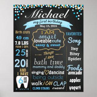 Zuerst 1. Geburtstags-Tafelzeichen Confettigold Poster
