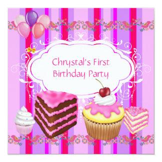 Zuerst zacken 1. Geburtstags-Party-Mädchen Quadratische 13,3 Cm Einladungskarte