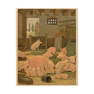 Zufrieden gestellte Schweine auf dem Bauernhof Holzleinwand