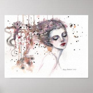 Zufriedene Fantasie-Aquarell-Kunst-Frau 12 x 16 Poster