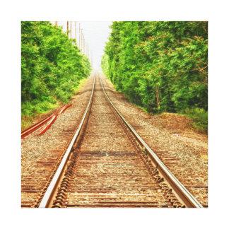 Zug-Bahnen im Holz Leinwanddruck