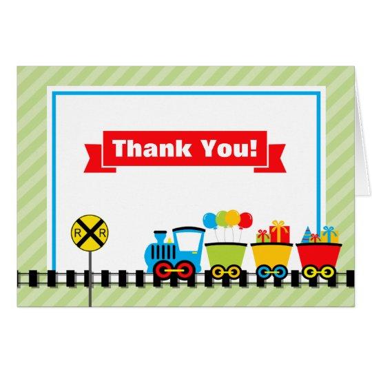 Zug danken Ihnen, gefaltete Anmerkungs-Karte zu Mitteilungskarte
