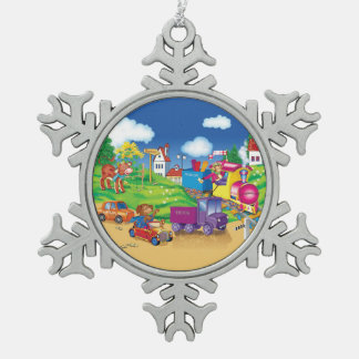 Zug und Auto Schneeflocken Zinn-Ornament