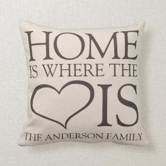 Zuhause ist, wo das Herz Familie ist Zierkissen