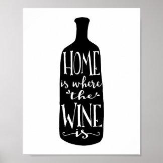 Zuhause ist, wo der Wein | Kunst-Druck ist Poster