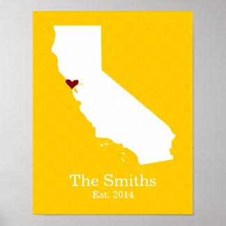 Zuhause ist, wo Ihr Herz ist - Kalifornien Poster