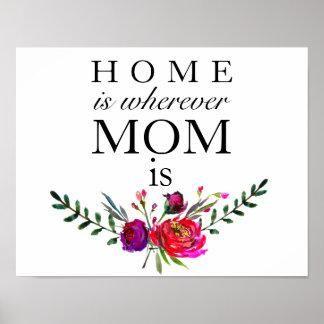 Zuhause ist, wohin Mamma ist - Mutter-Tagesplakat Poster