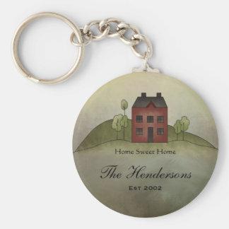 Zuhause-süßer Zuhause-individueller Name Keychain Standard Runder Schlüsselanhänger