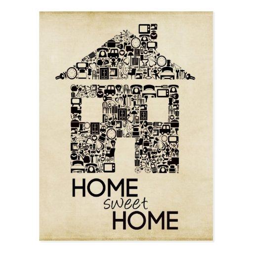 Zuhause-süßes Zuhause-neue Adressen-Anmerkungs-Kar Postkarten