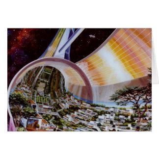 Zukünftige Raum-Kolonien Retro Vintager Kitsch Sci Karte
