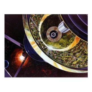 Zukünftige Raum-Kolonien Retro Vintager Kitsch Sci Postkarte
