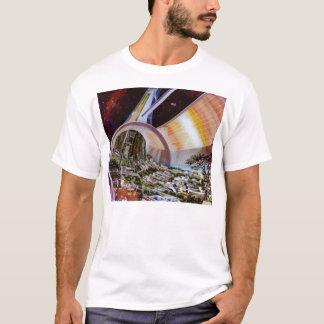 Zukünftige Raum-Kolonien Retro Vintager Kitsch Sci T-Shirt