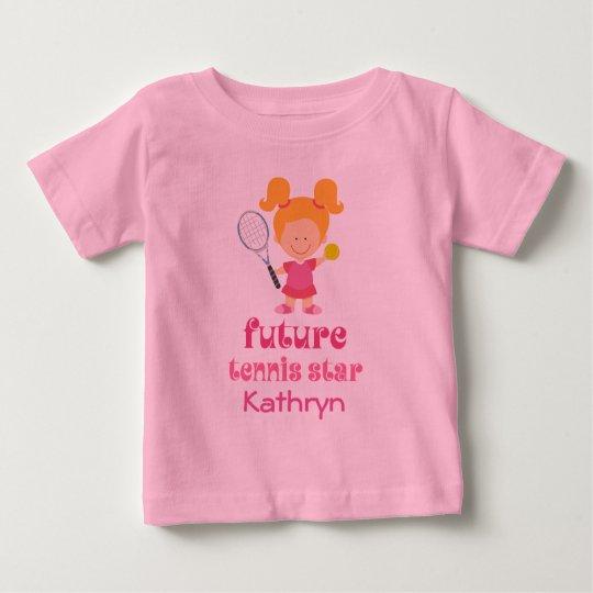 Zukünftige Tennis-Stern-Mädchen-personalisierter T Baby T-shirt