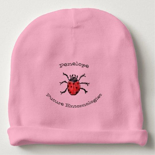 Zukünftiger Entomologe-roter Marienkäfer-Baby-Name Babymütze