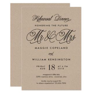 Zukünftiger Herr und Frau Rehearsal Dinner Invite 12,7 X 17,8 Cm Einladungskarte