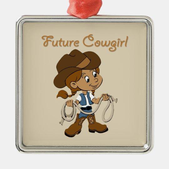 Zukünftiges Cowgirl-dunkle Haut, wenn ich Quadratisches Silberfarbenes Ornament