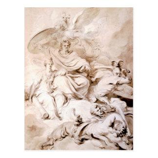Zum Genie von Franklin durch Jean-Honore Fragonard Postkarte