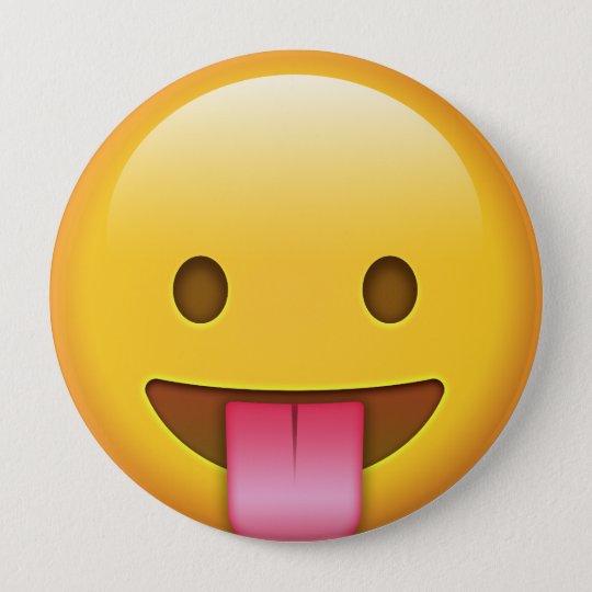 Zunge-Heraus Emoji Runder Button 10,2 Cm