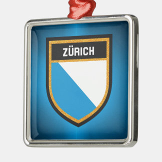 Zürich Flagge Silbernes Ornament