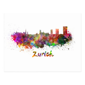 Zürich skyline im Watercolor Postkarte