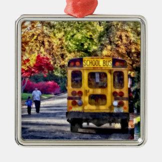 Zurück vom Schulbus Silbernes Ornament