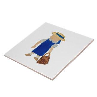 Zurück zu Schulwasser farbiges Mädchen mit Bookbag Große Quadratische Fliese