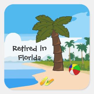 Zurückgezogen in Florida Quadratischer Aufkleber