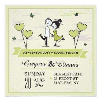 Zusammen (grüne) Posten-Hochzeits-Brunch-Einladung Quadratische 13,3 Cm Einladungskarte