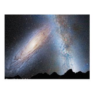 Zusammenstoß der Milchstraße und des Andromeda Postkarte